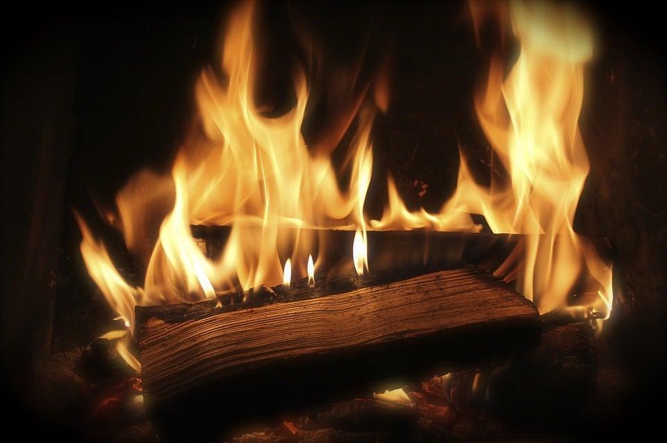 A roaring Yule log fire