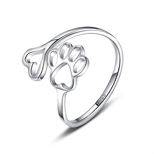 paw print heart ring gift for dog lovers