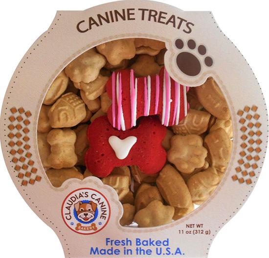 round gift box of valentine dog treats