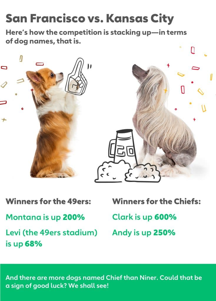 Winners for the 49ers: Sherman is up 68% Levi (the 49ers stadium) is up 63% Winners for the Chiefs: Clark is up 600% Andy is up 250% And there are more dogs named Chief than Niner. Could that be a sign of good luck? We shall see!
