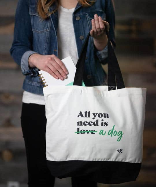 """Valentine's Day """"All You Need"""" gift tote for dog lovers"""