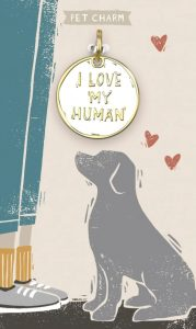 """""""I Love My Human"""" enamel collar charm gift for dogs"""