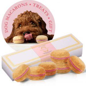 Bonne et Filou strawberry macaron-shaped dog gift treats