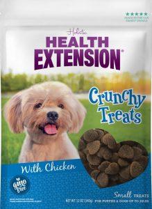 bag of Health Extension heart-shaped dog treats