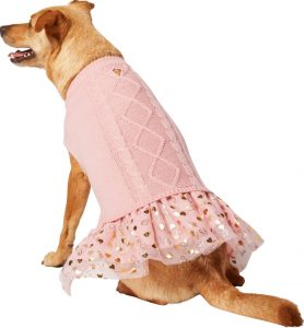Frisco pink cable knit pink with hearts Valentine's Day dog outfit