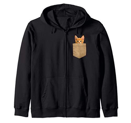 black hoodie with print of orange cat in pocket