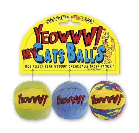 Yeowww! toy catnip balls, three-pack