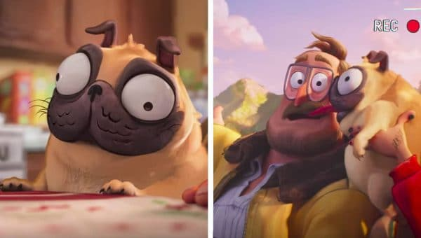 images of Monchi the pug from the movie Connected