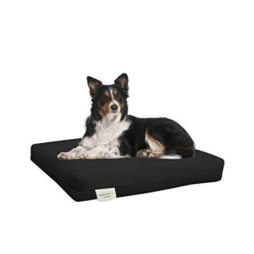 dog sitting on a black Naturopet dog bed