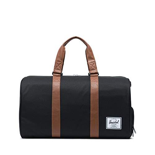 Herschel black and tan dog mom duffel bag