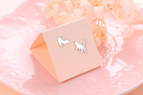 sterling silver cat silhouette earring pair