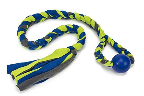 blue and green rope toy with chew ball