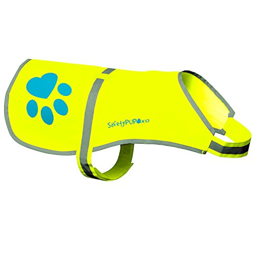 fluorescent yellow safety pup reflective dog vest