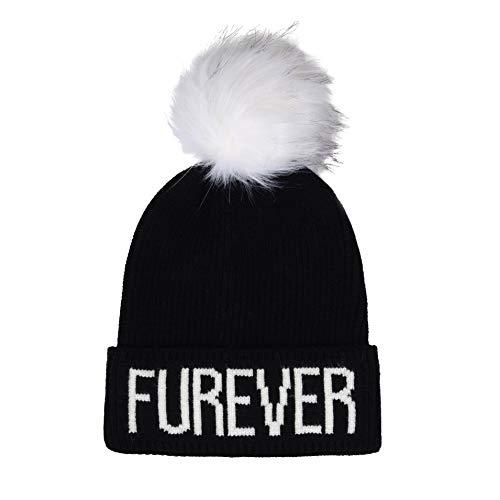 """Furever"" Faux Fur Pompom Knit Beanie"