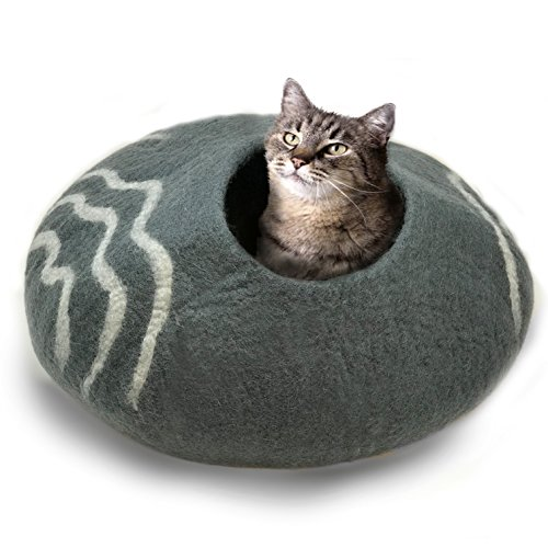 cat in felted wool cat cave