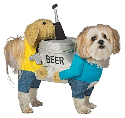 dog wearing beer-themed costume