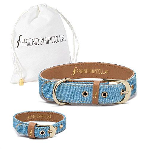Friendship matching vegan and denim dog collar and bracelet