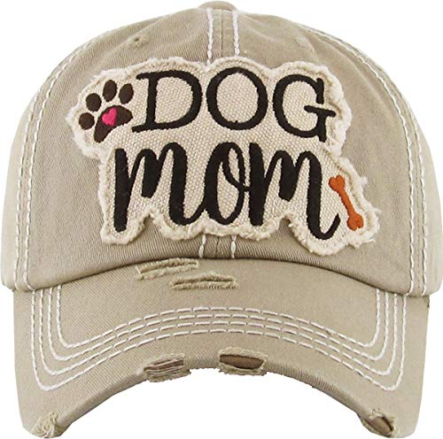 """""""Dog Mom"""" distressed patch hat"""