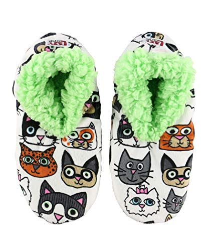 slippers with cat cartoon faces printed all over