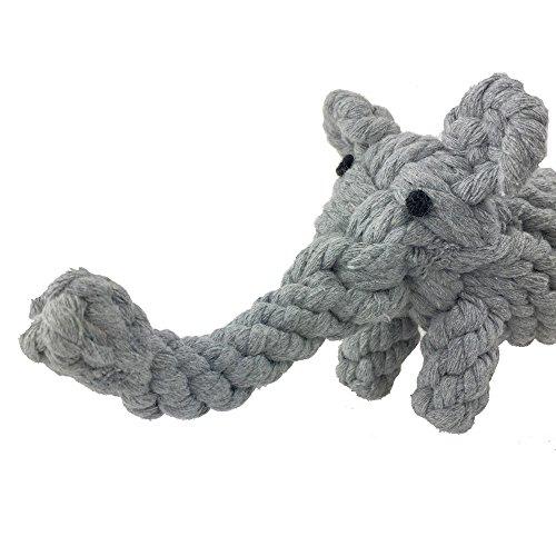 gray cotton elephant dog rope toy