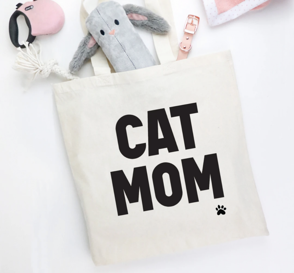 """Cat Mom"" canvas tote bag"