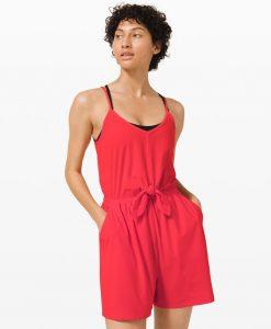 woman wearing red Lululemon romper