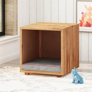 wooden ottoman with dog bed inside