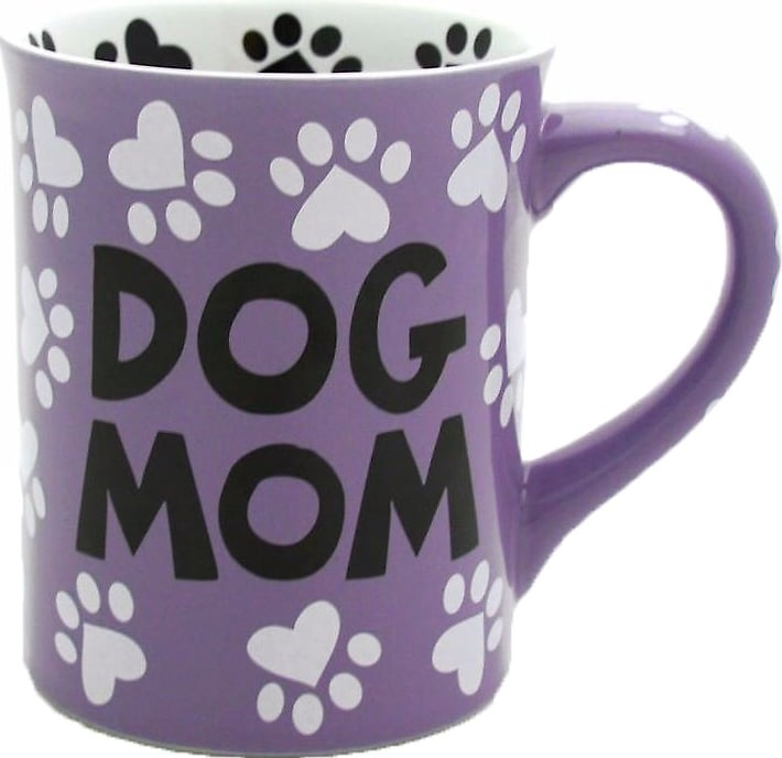 "purple, black and white ""Dog Mom"" mug with heart paw prints"