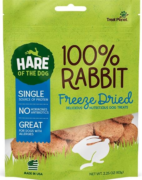 bag of freeze dried rabbit dog treats
