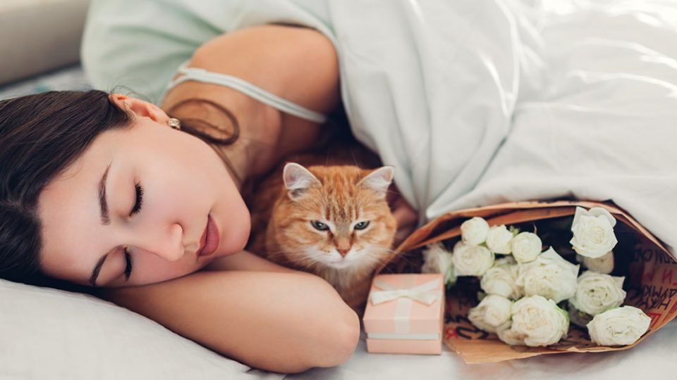 woman in bed with cat and gifts