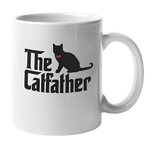 """white mug with """"The Catfather"""" in black text"""