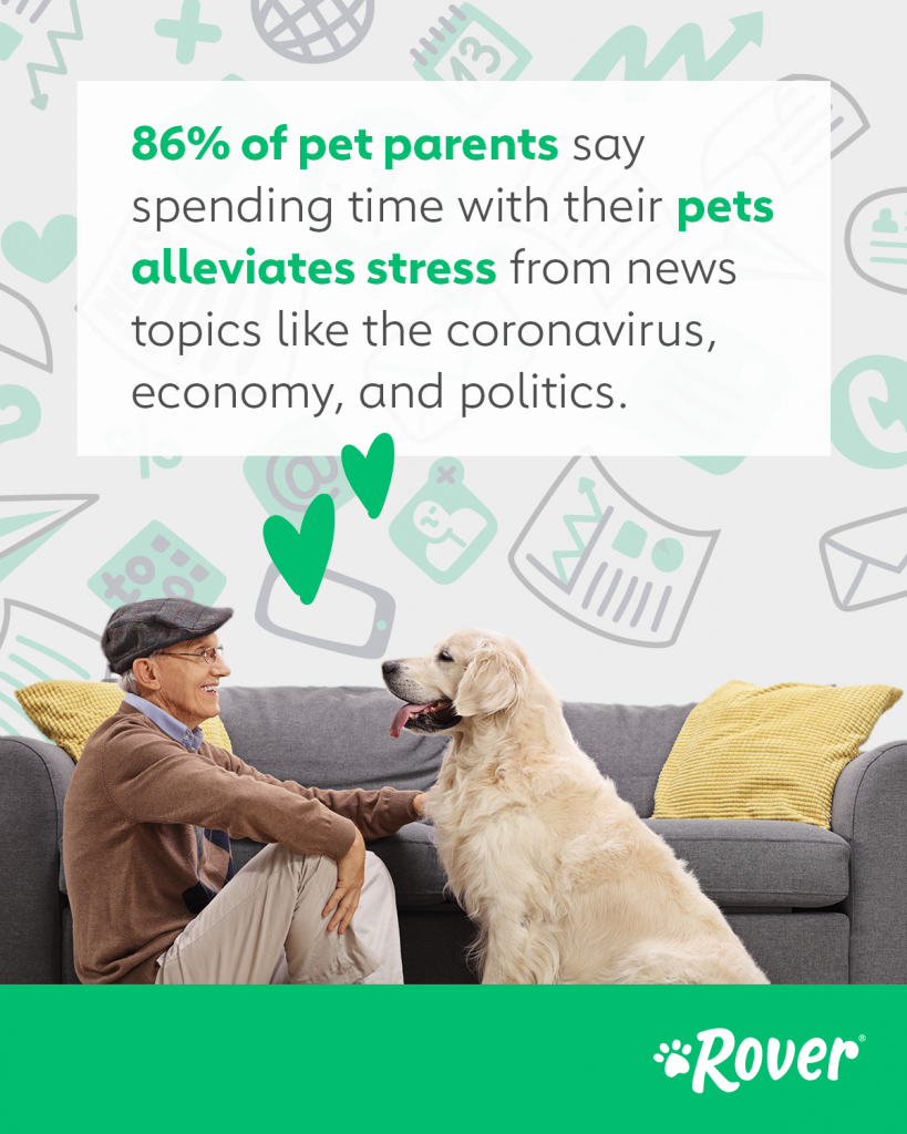 86% of pet parents say spending tume with their pets alleviates stress