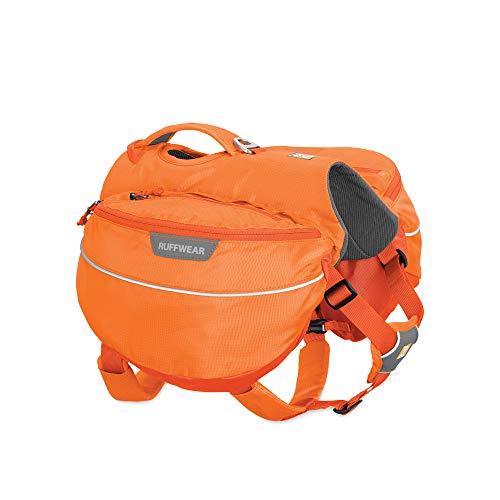 orange Ruffwear dog pack for camping or hiking