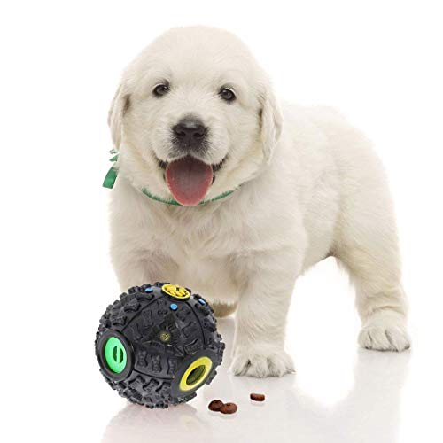 puppy with SunGrow treat dispensing puzzle toy ball