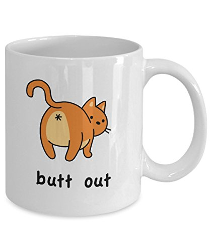 """white mug with illustration of cat from behind with text, """"butt out"""""""
