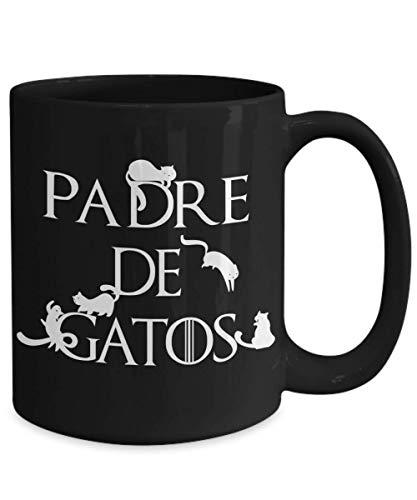 "black mug with ""Padre de Gatos"" in white text"
