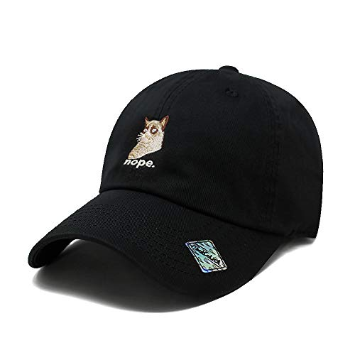 black hat with grumpy cat embroidered image