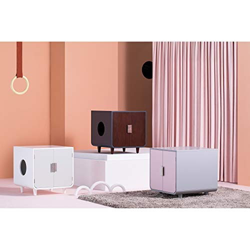 three mid-century-style cat litter box cabinets, white, pink, brown