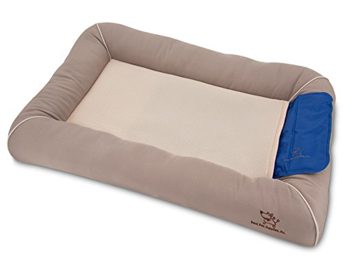 brown bed with removable cooling pad for cats