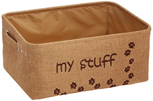 """jute dog toy storage bin embroidered with paw prints and """"my stuff"""""""