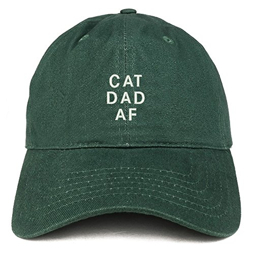 "hat in green cotton twill with ""Cat Dad AF"" embroidery"