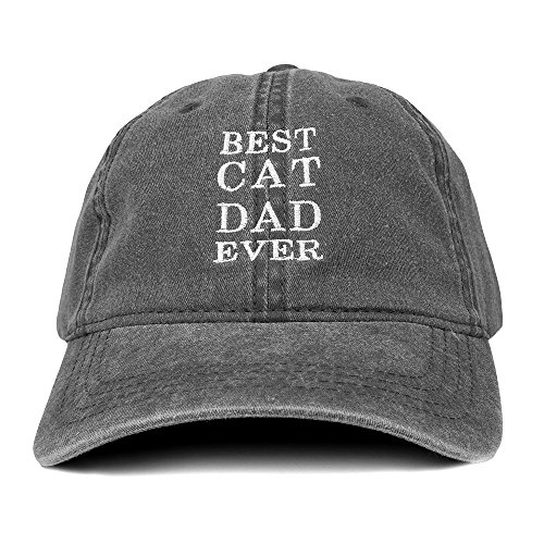 "gray ""Best Cat Dad Ever"" cotton hat"
