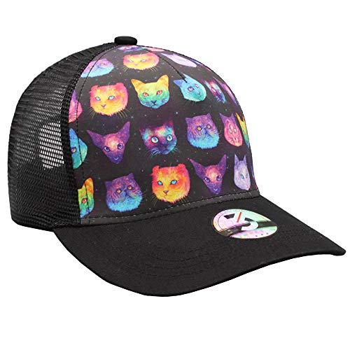mesh-back polyester hat with psychedelic-colored cat face print