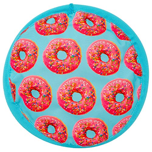 Hyper Pet fabric Frisbee with print of pink donuts on blue background