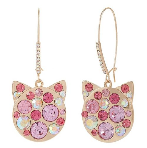gold and rhinestone hanging cat earrings
