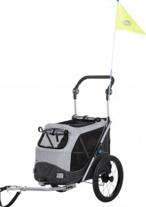 black and gray Trixie quick fold dog bike trailer