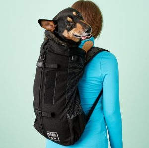 pup in black K9 Sport Sack backpack on woman's back