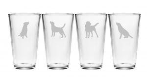 set of four Lab pint glasses