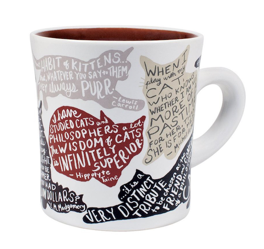 mug with cat silhouettes and literary quotes
