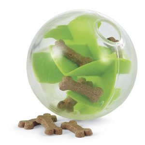 plastic Mazee ball puzzle toy with treats inside